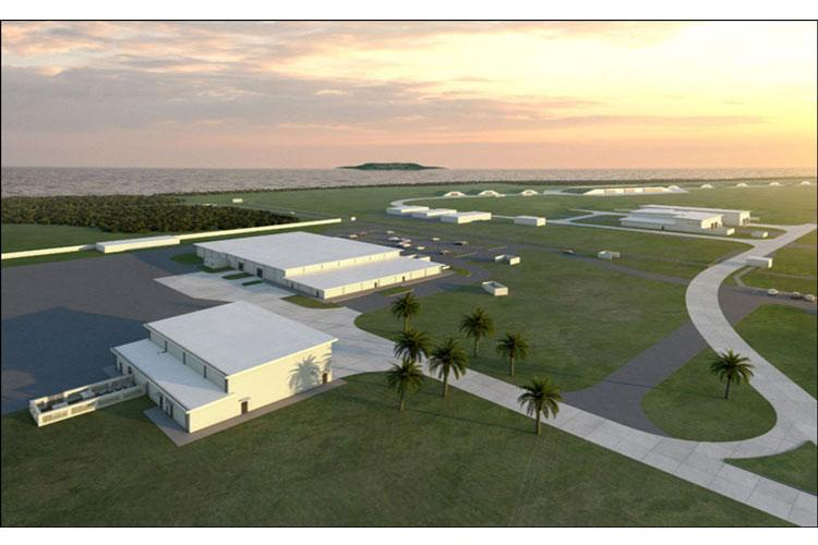 An artist rendering of the new Standoff Weapons Complex at Andersen Air Force Base, Guam. The new state-of-the-art facilities will support a new strategic force projection initiative and enhance training capabilities in the Indo-Pacific region. The construction is an effort recently awarded by the Air Force Installation and Mission Support Center's Detachment 2. (Courtesy photo)
