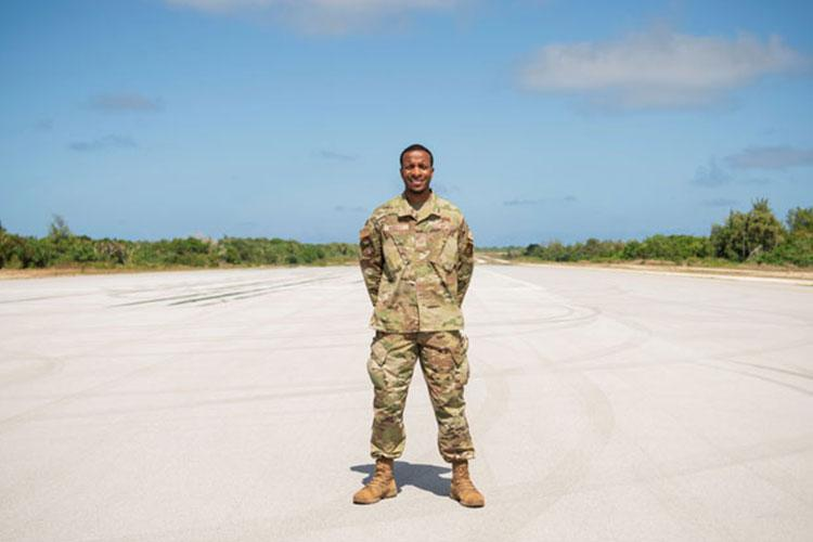 U.S. Air Force Staff Sgt. Wesley Murray, a cyber surety supervisor with the 644th Combat Communications Squadron, poses for a photo at Andersen Air Force Base, Guam, Feb. 10, 2021. During his Air Force career, Murray served at three duty stations and four deployed locations, and was able to obtain seven certificates in various advancements benefiting every unit he was attached to. (U.S. Air Force photo by Senior Airman Aubree Owens)