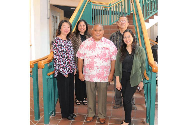 Small business experts, from left, Small Business Development Center (SBDC) Guam Certified Small Business Advisor Jane Ray, SBDC Guam Senior Certified Small Business Advisor Denise Mendiola, a Guam Chamber of Commerce member and small business owner Albert Yanger, Naval Facilities Engineering Command (NAVFAC) Marianas Small Business Program Director Albert Sampson and Guam Procurement Technical Assistance Center Procurement Counselor Gerardine Mendiola observe National Small Business Week on Guam, May 5-12.