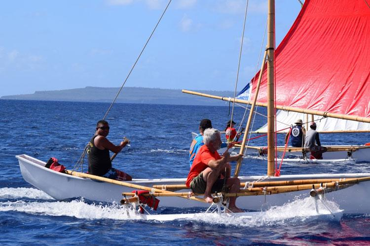 Master navigator, Cecilio Raiukiulipiy, and 500 Sails Director, Pete Perez, sailing canoe Richard Seman to Tinian for the 2019 Tinian Hot Pepper Festival.