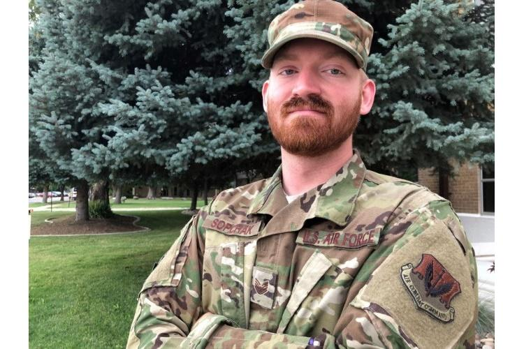 Staff Sgt. Garrett Sopchak, 28, of the 388th Maintenance Squadron at Hill Air Force Base, Utah, embraces Norse Heathenism, a belief system whose pantheon includes the gods Odin and Thor. He received a beard waiver on July 8, 2019. (GARRETT SOPCHAK)