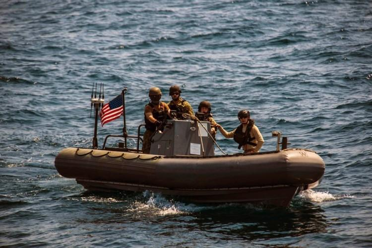 Sailors from USS Montgomery conduct a visit, board, search and seizure exercise in the Java Sea as part of Cooperation Afloat Readiness and Training Indonesia on Aug. 6, 2019. (CHRISTOPHER A. VELOICAZA/U.S. NAVY)
