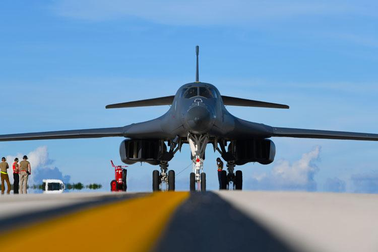 A B-1B Lancer assigned to the 34th Bomb Squadron, Ellsworth Air Force Base, S.D., taxis at Andersen AFB, Guam, after arriving for a Bomber Task Force deployment, Sept. 10, 2020. (U.S. Air Force photo by Staff Sgt. Nicolas Z. Erwin)