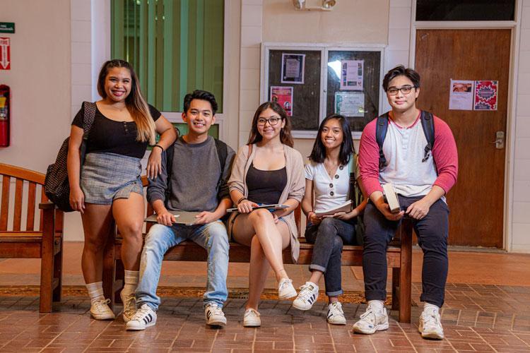 (From left) University of Guam students Amanda Finoña, Keanno Fausto, Isabella Alvia, Rose Facelo, and Drake Taitano in 2019.