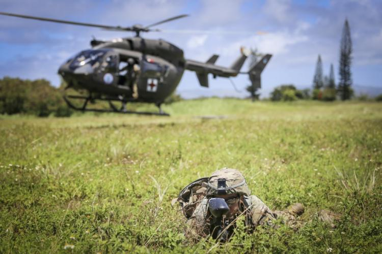 Officer candidates from the Guam National Guard, and ROTC Cadets from the University of Guam, train together in Barrigada on June 17. The joint exercises mark the first coordinated training effort between the two commissioning sources in over 10 years.
