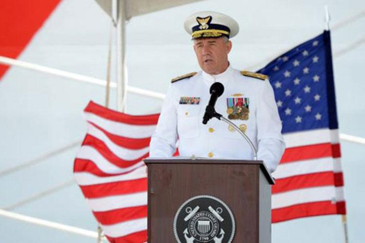 Coast Guard commandant Adm. Karl Schultz speaks during an August 2019 ceremony for the commissioning of two new cutters in Hawaii. Schultz on Monday, Oct. 22, 2019, said the service will homeport three fast-response cutters in Guam within the next two years. (MATTHEW WEST/U.S. COAST GUARD)