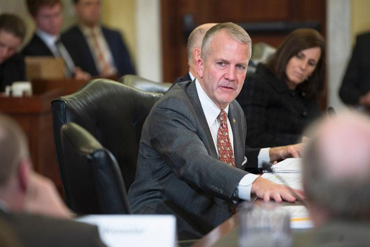 Sen. Dan Sullivan, R-Alaska, questions witnesses during a Senate Veterans Affairs Committee hearing addressing suicide prevention on Capitol Hill in Washington on Wednesday, Dec. 4, 2019. (CARLOS BONGIOANNI/STARS AND STRIPES)