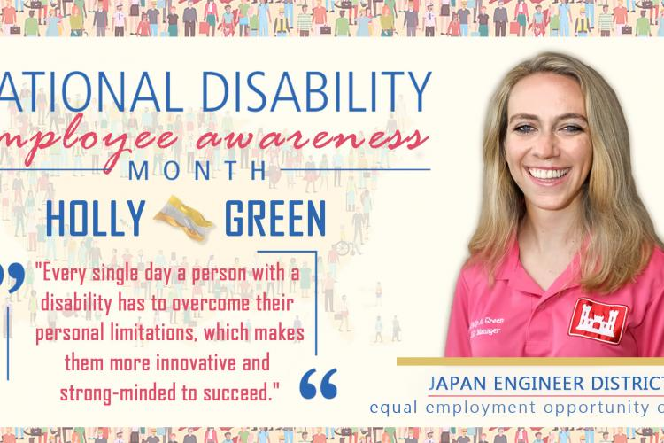 Photo By Honey Nixon | Holly Green, the EEO Manager and Disabilities Program Manager (DPM) for Japan Engineer District discusses National Disability Employment Awareness Month (NDEM) and shares her own experiences as an individual with a disability.