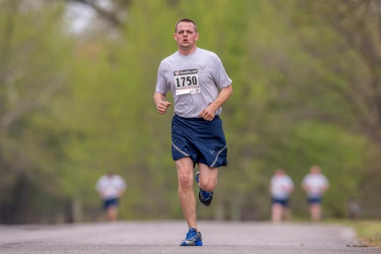 Tech Sgt. Calvin Campbell, 138th Fighter Wing, completes a run during an annual physical fitness assessment, April 7, 2019. C.T. MICHAEL/U.S. AIR NATIONAL GUARD