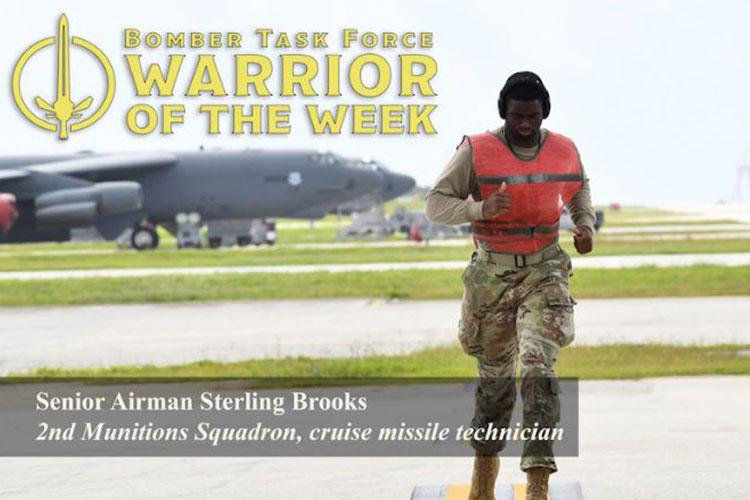 U.S. Air Force Senior Airman Sterling Brooks, 2nd Munitions Squadron cruise missile technician, jogs to his position on the flight line during a Bomber Task Force deployment at Andersen Air Force Base, Guam, May 6, 2021. Brooks was recognized as the Warrior of the Week for his work ethic, positive impact and commitment to the mission. (U.S. Air force photo by Master Sgt. Louis Vega Jr.)