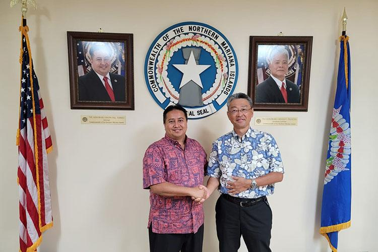 CNMI Gov. Ralph DLG. Torres met with Tasi Tours & Transportation, Inc. President Hiroari Kamimori on Friday, June 11 in Saipan to discuss the future of The Marianas' tourism industry and plans to re-establish the commonwealth's Japan market.