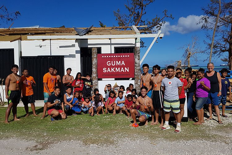 Gamsun Project participants in front of Guma Sakman before swim class.