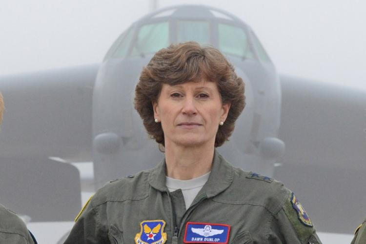 Maj. Gen. Dawn Dunlop, director of the Office of the Secretary of Defense Special Access Programs stands in front of an aircraft at Edwards Air Force Base, Calif., on Feb. 1, 2019. KENJI THULOWEIT/U.S. AIR FORCE