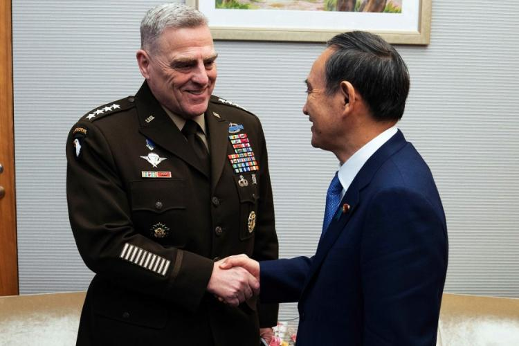 Gen. Mark Milley, chairman of the Joint Chiefs of Staff, meets with Japanese Chief Cabinet Secretary Yoshihide Suga at the Kantei in Tokyo, Wednesday, Nov. 13, 2019. DOMINIQUE PINEIRO/DEFENSE DEPARTMENT