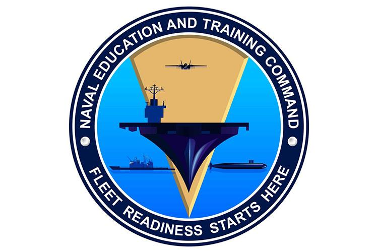 "This is the new Naval Education and Training Command logo. NETC announced changes to its command logo and a new mission statement Aug. 20. The new logo removes the depiction of the 5-vector model and the new mission statement is ""Fleet readiness starts here."""