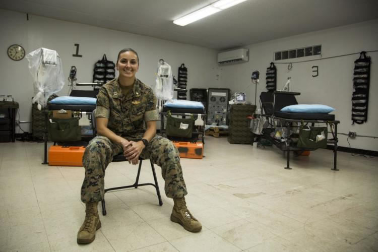 U.S. Navy Lt. Jessica Schmidt, a native of Reston, Va., is a medical-surgical nurse with 3rd Medical Battalion, 3rd Marine Logistics Group. She is currently assigned to Task Force Medical on Naval Base Guam. (U.S. Marine Corps photo by Staff Sgt. Jordan Gilbert)