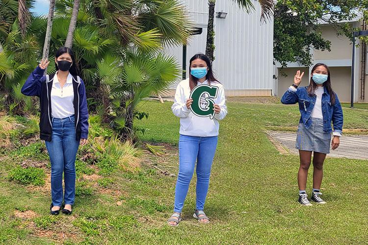 University of Guam students (from left) Britney Sison, Aisleabesh Maglaque, and Anesha Ignacio are three recipients of 41 community-funded scholarships awarded this semester through the UOG Endowment Foundation. University of Guam file photo from 2020