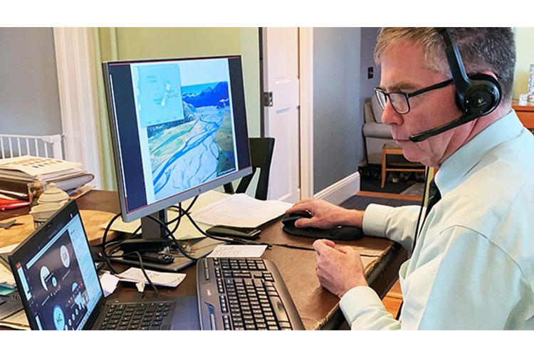 Jim Dalton, an educator at the U.S Military Academy at West Point, teaches cadets online in March. Students were unable return to campus after spring break because of the COVID-19 pandemic. (U.S. Army photo by Deb Dalton)