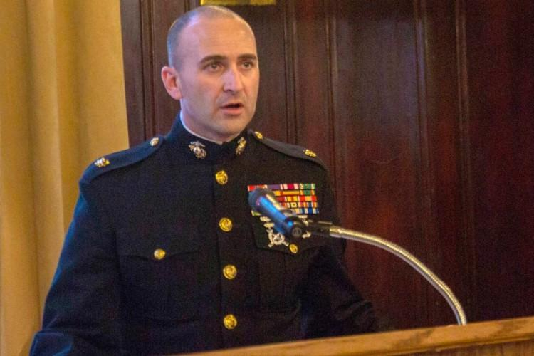 Marine Maj. Brandon Currie, seen here at a function in Detroit in March 2019, was relieved of command of Recruiting Station Cleveland along with the unit's sergeant major, Sgt. Maj. Christopher Lillie and the operations officer, whom officials refused to name. (U.S. MARINE CORPS)