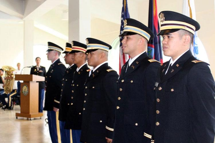 University of Guam ROTC cadets (from right) Christopher Andrada, Corey Ayuyu, Collin Babauta, Justine Mallari, Henry Sandbergen, and Michael Schommer were commissioned as U.S. Army officers on Dec. 21. (Photo courtesy of the University of Guam)