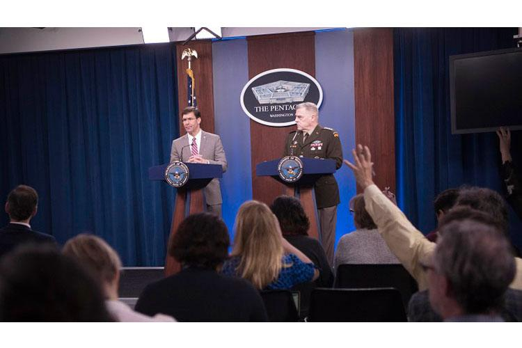 Defense Secretary Dr. Mark T. Esper and Army Gen. Mark A. Milley, chairman of the Joint Chiefs of Staff, speak to reporters at the Pentagon, March 2, 2020. (DoD photo Lisa Ferdinando)