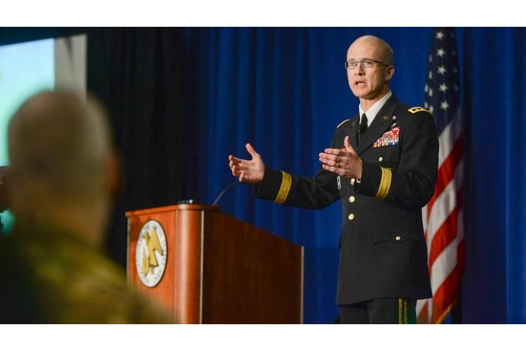 U.S. Army Lt. Gen. Ronald Place, DHA Director, discusses upcoming Military Health System changes designed to improve the readiness of combat forces during a seminar held at the Association of the United States Army 2019 Annual Meeting and Exposition in Washington, D.C. Lt. Gen. Place explained how DHA is standardizing systems to improve healthcare across the enterprise. (DHA Photo by Hannah Wagner)