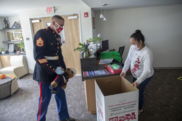Staff Sgt. John Ewald, Assistant Coordinator for Toys for Tots on Guam and the Commonwealth of the Northern Mariana Islands delivers donation boxes to the Guam Chamber of Commerce to commence the 2020 Toys for Tots Campaign on Oct. 14, 2020. (Photo by Cpl. Andrew King)