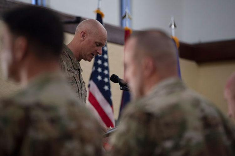Capt. Jaime Stiffler, 36th Wing chaplain, gives the invocation during a ceremony Sept. 10, 2019 on Andersen Air Force Base, Guam. Stiffler is directly embedded with the 36th Contingency Response Group, whose primary mission is to be ready to deploy or temporary duty on a moments notice, meaning a large part of the unit is often out the door. (U.S. Air Force photo by Airman 1st Class Amir Young)