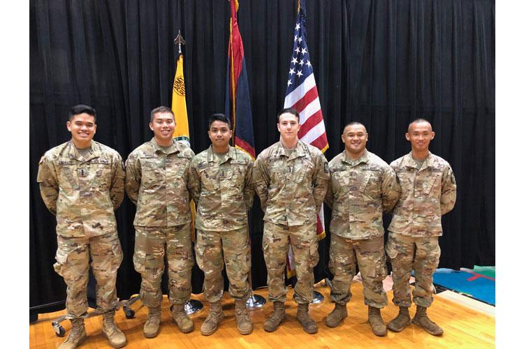 University of Guam ROTC cadets (from left) Christopher Andrada, Corey Ayuyu, Henry Sandbergen, Michael Schommer, Collin Babauta, and Justine Mallari will be commissioned as U.S. Army officers this Saturday. (Photo courtesy of the University of Guam)