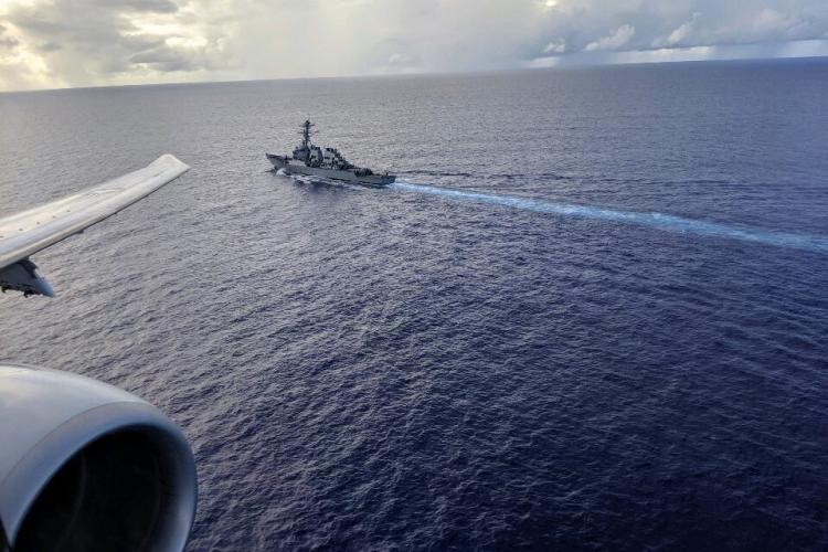 """ANDERSEN AIR FORCE BASE, Guam (July 10, 2019) The """"Fighting Tigers"""" of Patrol Squadron (VP) 8 conduct Anti-Submarine Warfare operations with USS Milius (DDG 69), during Ship Anti-Submarine Warfare Readiness and Evaluation Measurement (SHAREM) 199. VP-8 is deployed to the U.S. 7th Fleet (C7F) area of operations conducting maritime patrol and reconnaissance operations in support of Commander, Task Force 72, C7F, and U.S. Indo-Pacific Command objectives throughout the Indo-Pacific region."""
