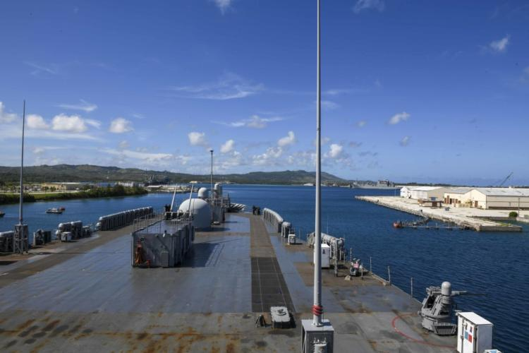 NAVAL BASE, Guam (June 11, 2020) - U.S. 7th Fleet flagship USS Blue Ridge (LCC 19), her crew and embarked 7th Fleet staff, prepare to enter port in Naval Base, Guam, for Blue Ridge's second Safe Haven Liberty June 11, 2020. Blue Ridge is the oldest operational ship in the Navy and, as 7th Fleet command ship, actively works to foster relationships with allies and partners in the Indo-Pacific region. (U.S. Navy photo by Mass Communication Specialist Seaman Matt Hall)