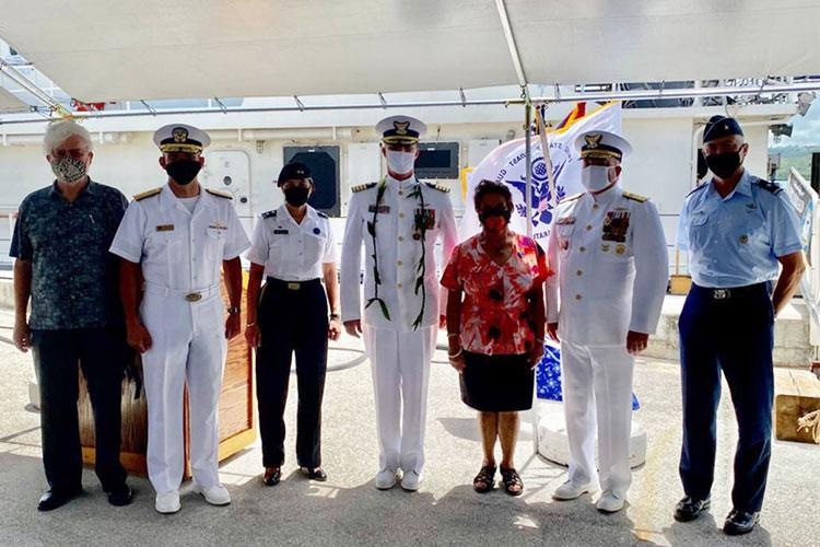 Coast Guard Sector Guam welcomed its new commander as Capt. Nicholas Simmons assumed command from Capt. Christopher Chase during a change of command ceremony at Sector Guam, June 3, 2021. The ceremony was presided over by Rear Adm. Matthew Sibley, commander, Coast Guard 14th District. (U.S. Coast Guard photo courtesy of Coast Guard Sector Guam/Released)