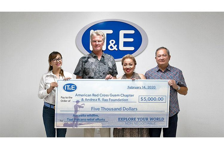 IT&E presents the American Red Cross and Andrea R. Ilao Foundation with$5,000 to support relief efforts for the Taal Valcano eruption in the Philippines and the wildfires in Australia. Each organization will receive half. From left are Rubyjane Buhain- Redila, Brand, Public Relations Manager at IT&E; Jim Oehlerking, CEO of IT&E; Chita Blaise, CEO of American Red Cross Guam Chapter; and Ed Ilao, President of Andrea R. Ilao Foundation and Board of Directors Member of the American Red Cross Guam Chapter.