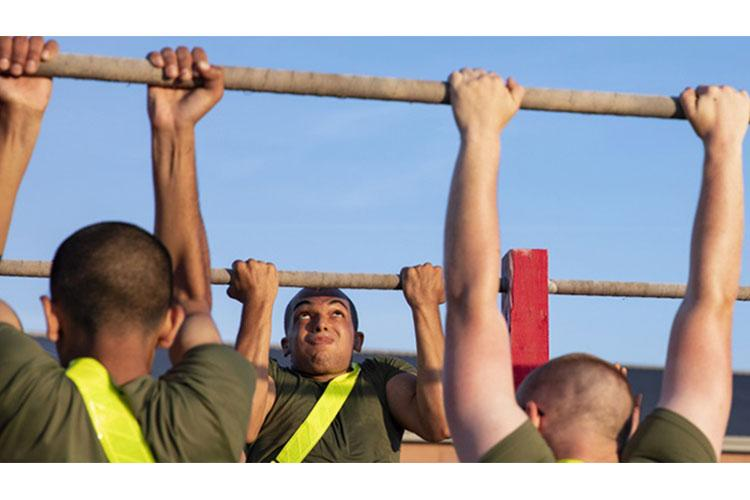 Recruits with Charlie Company, 1st Recruit Training Battalion, executed a formation run and multiple exercise stations during physical training on Marine Corps Recruit Depot Parris Island, S.C. May 19, 2021 (Photo by: Marine Sgt. Dana Beesley).