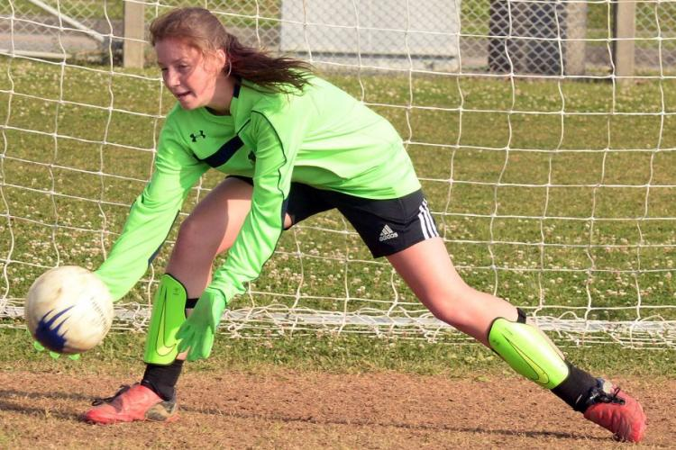 Sophomore Abigail Irwin is one of two players vying for Kubasaki's girls soccer team's goalkeeping job. DAVE ORNAUER/STARS AND STRIPES