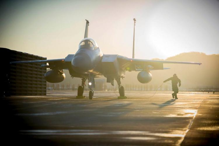A U.S. airman prepares a F-15C Eagle for takeoff during a past joint exercise at Gwangju Air Base, South Korea. KRISTEN HELLER/U.S. AIR FORCE