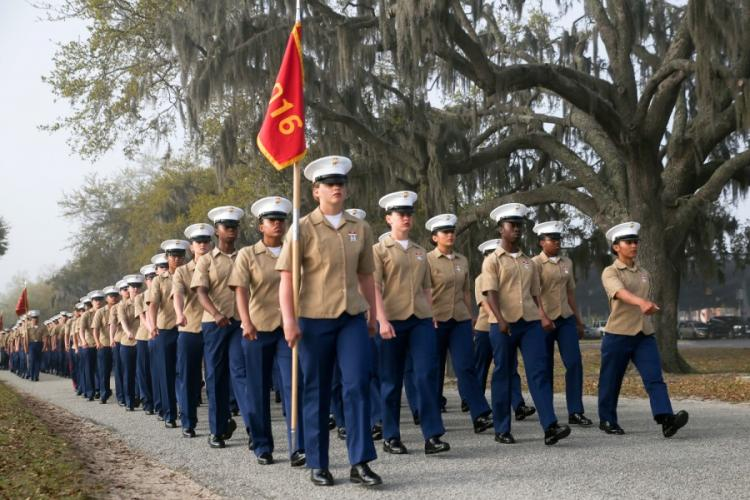 Marines with India Company, 3rd Recruit Training Battalion, graduated from recruit training at Marine Corps Recruit Depot Parris Island on March 29, 2019. India Company is the first combined company of male and female recruits to graduate from recruit training. VIVIEN ALSTAD/U.S. MARINE CORPS