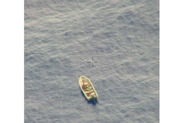 COAST OF MICRONESIA (June 7, 2020) - A U.S. Navy, Patrol Squadron 45, P-8A Poseidon Aircraft spots a missing mariner during a Search and Rescue (SAR) mission off the coast of Micronesia June 7. (US Navy Photo/RELEASED)