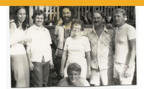 Left to Right: Andrea Jean, John, Jeff, Mom, Dad, Jim (now retired Lt Col., Purple Heart Club), Jason Nickolas is in Front.