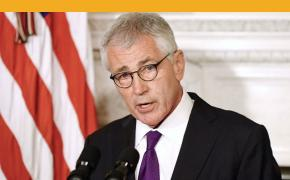 Secretary of Defense Chuck Hagel announces his resignation on Monday, Nov. 24, 2014 in the State Dinning Room of the White House in Washington, D.C. (Olivier Douliery/Abaca Press/TNS)