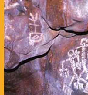 Pictographic narrative in Gadao's Cave at mouth of Inarajan Bay Guam.