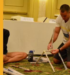 PO3 William Bennett and his wife, Megan, of HSC-25, build a tower made of old newspapers as a team building exercise.  The couple attended a Marriage Enrichment Retreat (MER) sponsored by CREDO Japan held on January 21-23, 2015 at Pacific Star Resort & Spa.