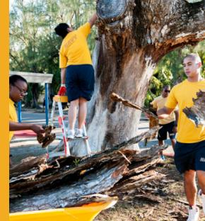 AGAT, Guam (Aug. 16, 2014) – Sailors from various commands on U.S. Naval Base Guam volunteer at Marcial A. Sablan Elementary School in Agat Aug. 16 in preparation for the upcoming school year. (U.S. Navy photo by Shaina Marie Santos)