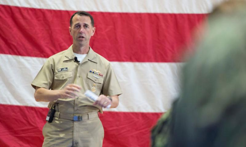 Chief of Naval Operations Adm. John Richardson talks to sailors and Marines during an all-hands call at Naval Support Activity, Bahrain, on Oct. 18, 2015. Richardson released his strategic guidance to the service on Tuesday. (Chris Church/Stars and Stripes)