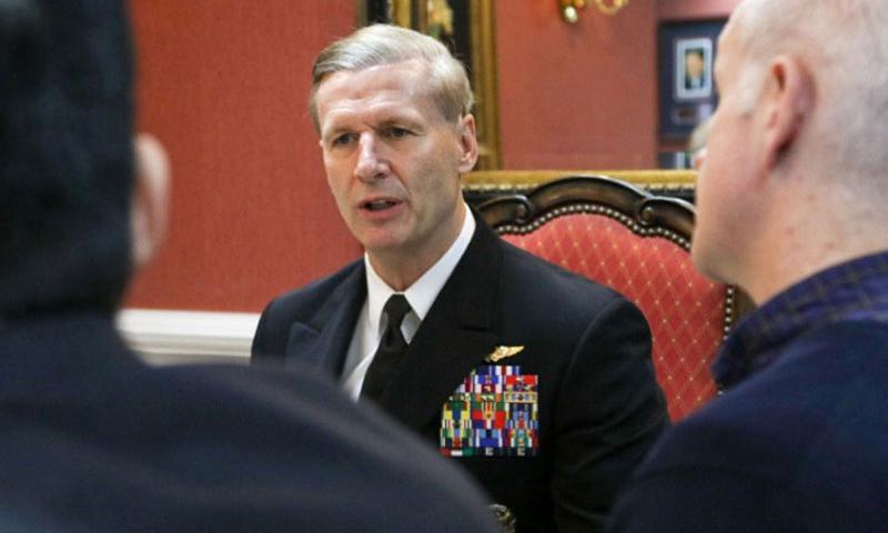 Vice Adm. Joseph P. Aucoin talks to journalists during a media roundtable aboard the USS Ronald Reagan, Jan 8, 2016. (Hendrick Simoes/U.S. Navy)