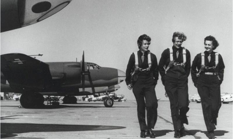 Members of the Women Airforce Service Pilots on a runway in Laredo Texas, in 1944. (Courtesy U.S. Air Force)