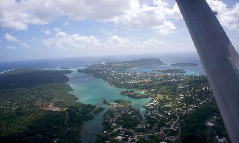 From a small Cessna used for island-hopping, a view of Vanuatu's capital, Port Vila, on the main island of Efate. (Michael Spear Hawkins)