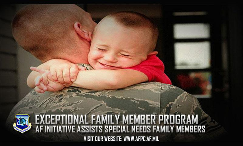The Air Force Exceptional Family Member Program allows Airmen to proceed to assignment locations where suitable medical, educational, and other resources are available to treat special needs family members. More than 28,000 active-duty Airmen with one or more exceptional family members are enrolled in the program. (U.S. Air Force courtesy photo)