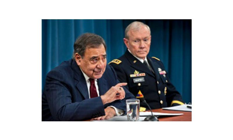 Defense Secretary Leon E. Panetta and Army Gen. Martin E. Dempsey, chairman of the Joint Chiefs of Staff, discuss the effects of sequestration during a news conference at the Pentagon, Jan. 10, 2013. Erin Kirk-Cuomo/DOD