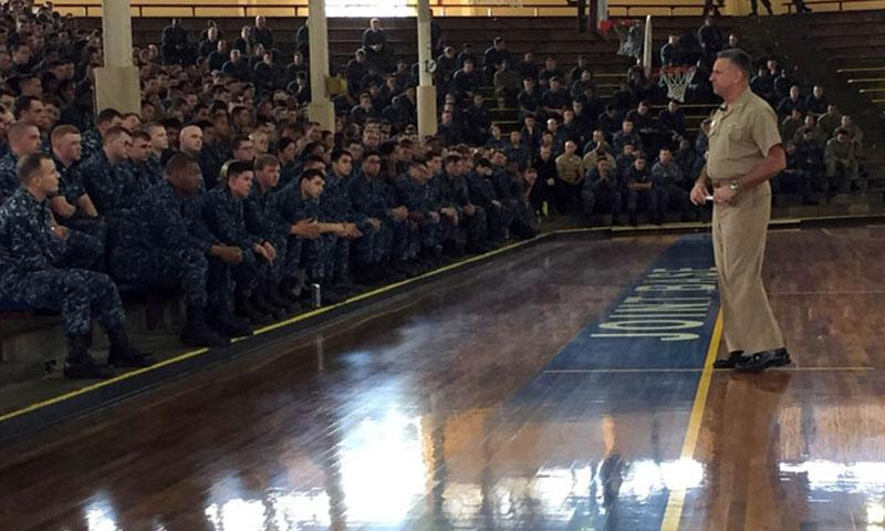 Vice Adm. Robert Burke, chief of Naval Personnel, speaks with sailors at Joint Base Pearl Harbor-Hickman, Hawaii, during an all-hands call that focused on Sailor 2025 and other personnel issues, Monday, Jan. 9, 2017. (Nathan Christensen/U.S. Navy photo)